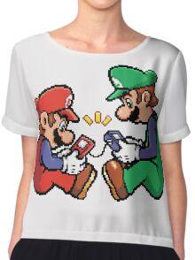 mario and luigi pixel Chiffon Top