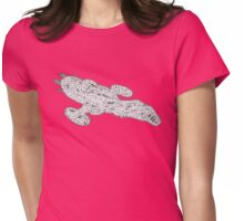 Pink Spaceship Womens Fitted T-Shirt