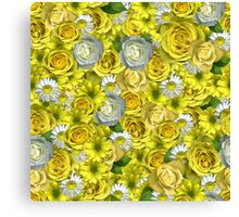 Yellow Roses Floral Canvas Print