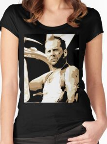 Bruce Willis Vector Illustration Women's Fitted Scoop T-Shirt