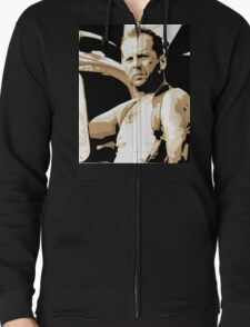 Bruce Willis Vector Illustration Zipped Hoodie