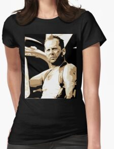 Bruce Willis Vector Illustration Womens Fitted T-Shirt
