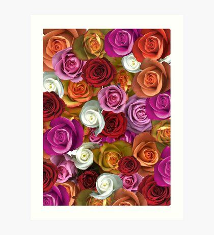 Multi Colored Roses Art Print