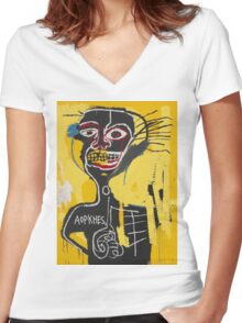 Basquiat AOTKHPES Samo Women's Fitted V-Neck T-Shirt