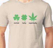 Superlucky Hemp Leaf (black font) Unisex T-Shirt