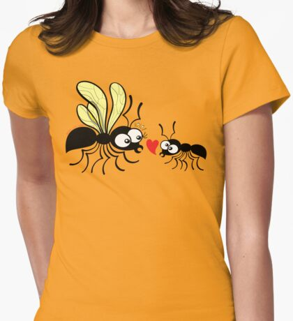Shy worker ant declaring its love to the queen ant Womens Fitted T-Shirt