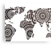 Zentangle World Map Canvas Print