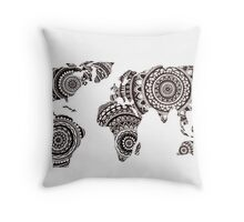 Zentangle World Map Throw Pillow