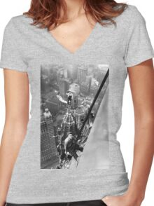 Vintage Photo of Workers in New York Women's Fitted V-Neck T-Shirt