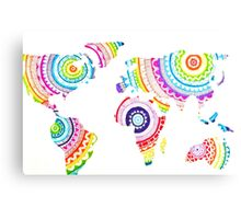 Colorful Zentangle World Map Canvas Print