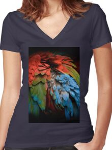 Parrot Feathers Women's Fitted V-Neck T-Shirt