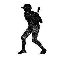 Distressed Baseball Batter Silhouette Photographic Print