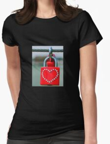 Pad lock Heart Womens Fitted T-Shirt
