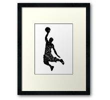 Distressed Basketball Dunk Silhouette Framed Print
