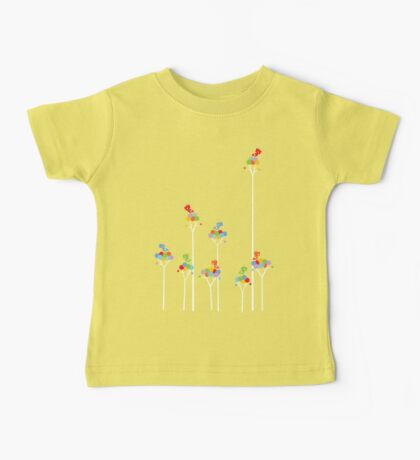 Colorful Tweet Birds On White Branches Baby Tee