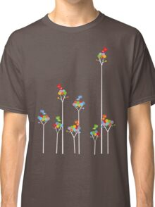 Colorful Tweet Birds On White Branches Classic T-Shirt