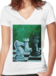 Knight takes King  Women's Fitted V-Neck T-Shirt