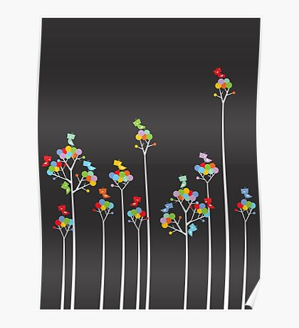 Colorful Tweet Birds On White Branches Poster