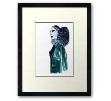 Green Denim Afro Framed Print