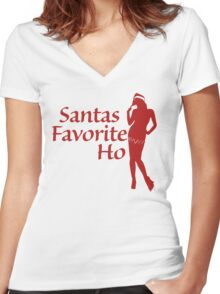 Santas Favorite HO Women's Fitted V-Neck T-Shirt