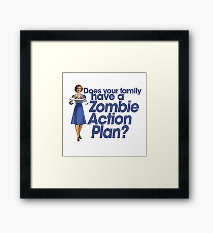 Zombie action plan Framed Print