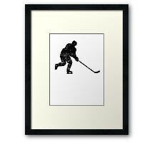 Distressed Hockey Player Silhouette Framed Print