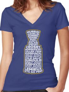 Lets Go Pens 2016 Women's Fitted V-Neck T-Shirt
