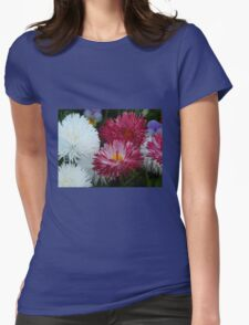 Pink and white Daisy Womens Fitted T-Shirt