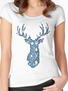 Watercolor Patterned Deer Design Women's Fitted Scoop T-Shirt