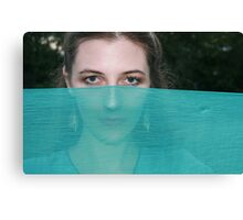 Beautiful Young Woman with Turquoise Scarf Canvas Print