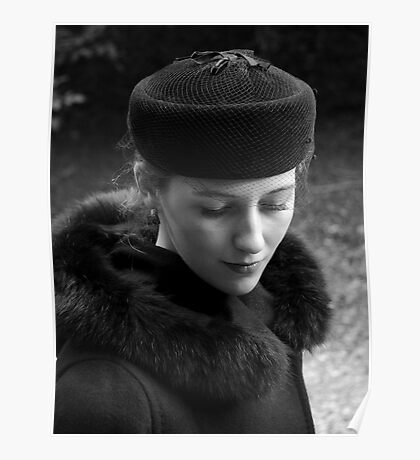 Beautiful Young Woman in Vintage Hat Poster