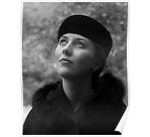 Beautiful Young Woman in Vintage Hat Looking Upwards Poster