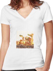 Rusty Robots II Women's Fitted V-Neck T-Shirt