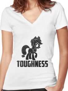 AppleJack - Toughness Women's Fitted V-Neck T-Shirt