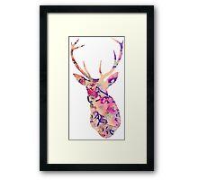 Pastel Patterned Deer Watercolor Design Framed Print