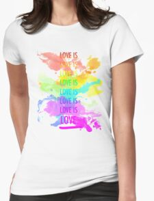 love is love rainbow splatter Womens Fitted T-Shirt