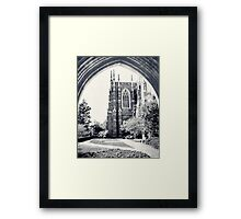 Through The Arch: Duke Chapel in Black and White Framed Print