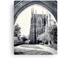 Through The Arch: Duke Chapel in Black and White Canvas Print