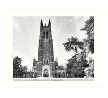 Black and White of Duke Chapel Art Print