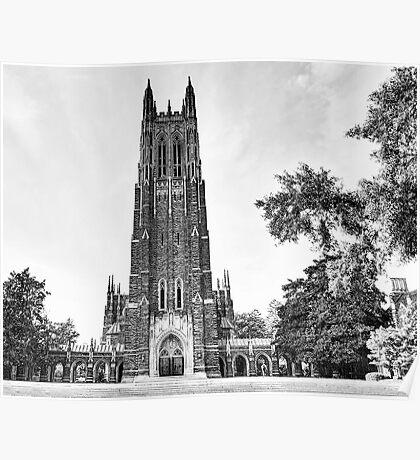 Black and White of Duke Chapel Poster
