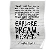 Inspirational Art, Twenty years from now, H Jackson Brown Quote Poster