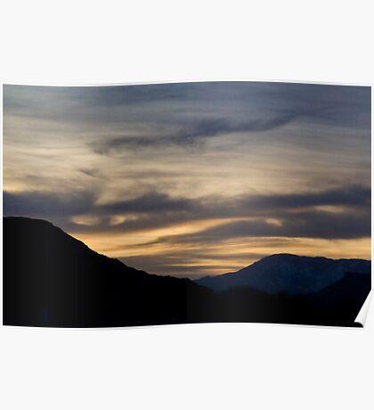 Sunset over Desert Mountains Poster
