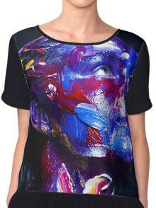 Colourful expressive portrait painting Chiffon Top
