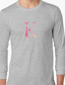 Pink Kappa Watercolor Letter Long Sleeve T-Shirt