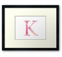 Pink Kappa Watercolor Letter Framed Print