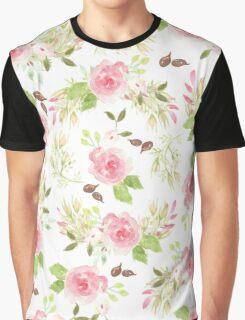Pink green watercolor romantic roses floral pattern Graphic T-Shirt