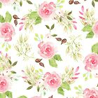 Pink green watercolor romantic roses floral pattern by Maria Fernandes