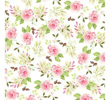 Pink green watercolor romantic roses floral pattern Photographic Print