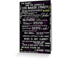 Sherlock Holmes Quotes Print Greeting Card