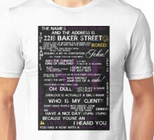 Sherlock Holmes Quotes Print Unisex T-Shirt
